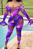 Purple Print Off Shoulder Ruffle Sleeve Long Pants Fashion Two-Piece HHB4042-1
