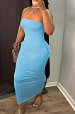 Navy Cyan Sexy Strapless Backless Solid Colur Bodycon Long Dress SN390151-3