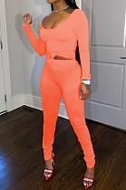 Orange Nigh Club Low Cut Long Sleeve Tight Top Long Pants Two-Piece WY6697-6