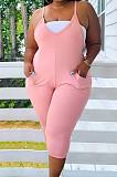 Pink Big Yards Casual Condole Belt V Neck With Pocket Solid Color Bodycon Jumpsuits BDF8093