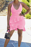 Pink Cotton Blend Sexy Tied Deep V Neck Backless Solid Color Ruffle Dress BS1281-1