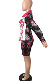 As Shown New Digital Print Lapel Neck Single-Breasted Long Sleeve Shirt Shorts Two-Piece QY5059-3
