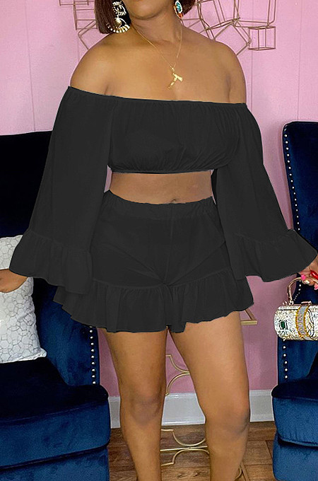 Black Strapless Ruffle Sleeve Crop Top Flutter Shorts Solid Color Loose Two-Piece QSS51028-2