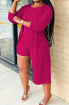 Rose Red New Solid Color Sleeveless Round Neck Romer Shorts+Long Sleeve Cardigan Coat Two-Piece WY6682-5