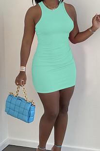 Light Green Casual Solid Color O Collar Sleeveless Tank Bondycon Mini Dress HY5233-1