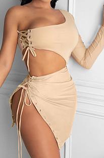 Khaki Sexy One Sleeve Crop Top Eyelet Bandage Skirts Sets NYF8040-1