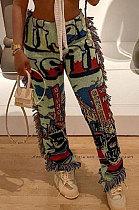 Light Green Women Fashion Ribber Tassel Mdi Waist Pants HHB4036-1