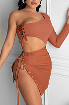 Coffee Sexy One Sleeve Crop Top Eyelet Bandage Skirts Sets NYF8040-2
