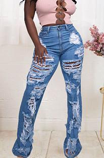 Blue Fashion Elastic Hole Slim Fitting High Waist Jean Long Pants JLX6902