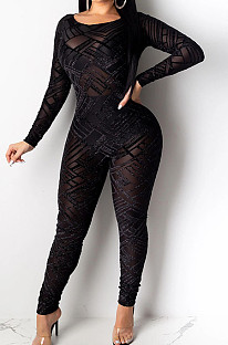 Black Mesh Perspective Backless Long Sleeve Round Neck Sexy Bodycon Jumpsuits SN390190