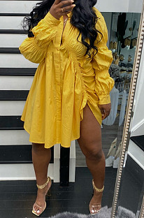 Yellow Long Sleeve Single-Breasted Irregularity Ruffel Loose Solid Color Swing Dress WY6828-3
