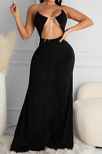 Black Women Halter Neck Solid Color Backless Swing Long  Dress ASY6608-1