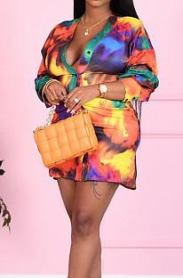 Rainbow Casual Print Long Sleeve Single-Breasted Mini Shirt Dress LSZ91179-1