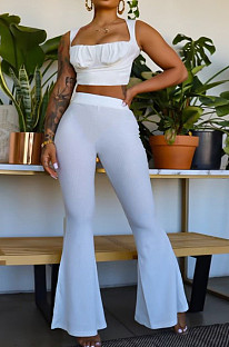 White Sexy Ridder Sleeveless Low-Cut Crop Tank High Waist Flare Pants Two-Piece MD436-1