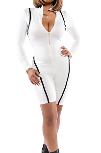 White Casual Round Neck Long Sleeve Zipper Tight Romper Shorts WY6656-1