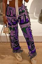 Purple Women Fashion Ribber Tassel Mdi Waist Pants HHB4036-3