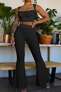 Black Sexy Ridder Sleeveless Low-Cut Crop Tank High Waist Flare Pants Two-Piece MD436-2