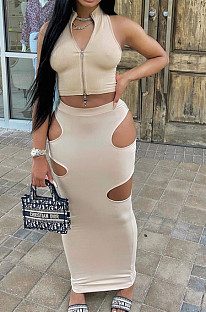 Khaki Fashion Prue Color Stand Collar Sleeveless Zipper Dew Waist Hollow Out Tight Skirt Sets NYF8076-3