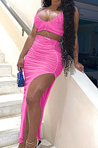 Rose Red Night Club Ruffle Condole Belt Strapless High Waist Irregularity Split Long Skirts SetsNYF8042-3