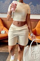 Khaki Short Sleeve O Collar Crop T-Shirt Shorts Solid Color Casual Sets NYF8047-2