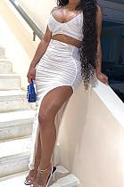 White Night Club Ruffle Condole Belt Strapless High Waist Irregularity Split Long Skirts Sets NYF8042-1