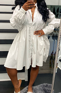 White Long Sleeve Single-Breasted Irregularity Ruffel Loose Solid Color Swing Dress WY6828-1