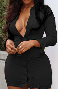 Black Sexy Lapel Neck Single-Breasted Shirt Collect Waist Bodycon Mini Dress CL6108-4
