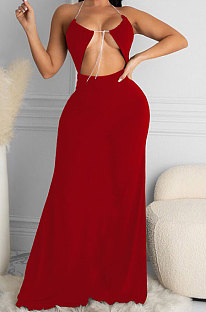 Red Women Halter Neck Solid Color Backless Swing Long  Dress ASY6608-2