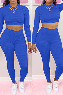 Bright Blue Scale Lines Long Sleeve Round Neck Crop Top High Waist Bodycon Pants Casual Sets NYF8011-2