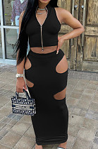 Black Fashion Prue Color Stand Collar Sleeveless Zipper Dew Waist Hollow Out Tight Skirt Sets NYF8076-1