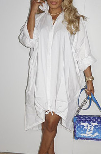 White Lapel Neck Long Sleeve Single-Breasted Loose Drawable Hem Shirt Dress WY6838-1