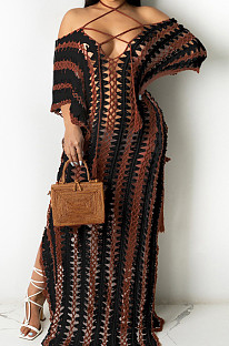 Black Summer Loose Short Sleeve Off Shoulded Bandage Beach Casual Long Dress MD429-2