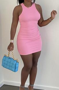Pink Casual Solid Color O Collar Sleeveless Tank Bondycon Mini Dress HY5233-2