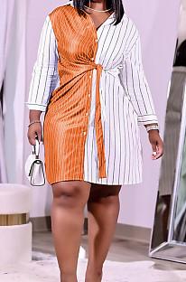 Orange Plus Size Women Stripe Print Lapel Neck Single-Breasted Bandage Shirt Dress QSS51027-3