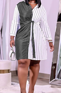 Black Plus Size Women Stripe Print Lapel Neck Single-Breasted Bandage Shirt Dress QSS51027-2