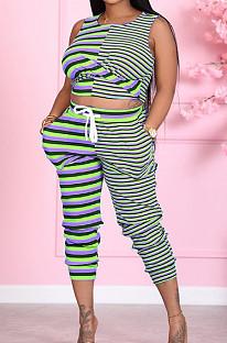 Purple Green Cotton Blend Stripe Round Neck Crop Tank High Waist Carrot Pants Casual Sets LSZ91175-2