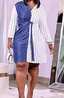 Blue Plus Size Women Stripe Print Lapel Neck Single-Breasted Bandage Shirt Dress QSS51027-1