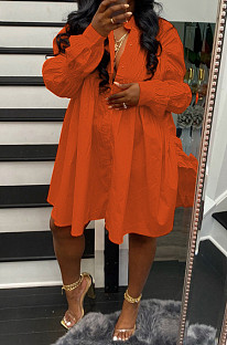 Orange Red Long Sleeve Single-Breasted Irregularity Ruffel Loose Solid Color Swing Dress WY6828-4