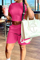 Rose Red Short Sleeve O Collar Crop T-Shirt Shorts Solid Color Casual Sets NYF8047-1