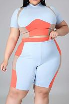 Light Blue Plus Size Women Contrast Color Print O Neck Short Sleeve T-Shirt High Waist Shorts Sport Sets XUY9108-1