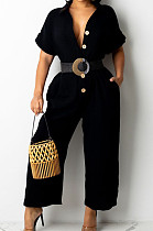Black Casual Solid Color Lapel Collar Single-Breasted Short Sleeve Wide Leg Jumpsuits TRS1169-2