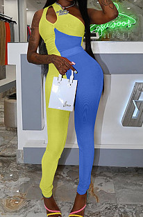 Yellow Blue Personality Oblique Shoulder Hollow Out Spliced Bodycon Jumpsuits XMY070-1