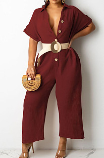 Wine Red Casual Solid Color Lapel Collar Single-Breasted Short Sleeve Wide Leg Jumpsuits TRS1169-4