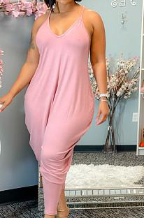 Pink Cotton Blend Summer Condole Belt V Collar Solid Color Harem Wide Leg Jumpsuits XUY9109-3
