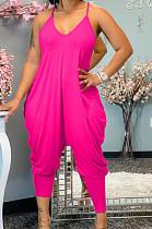 Rose Red Cotton Blend Summer Condole Belt V Collar Solid Color Harem Wide Leg Jumpsuits XUY9109-1
