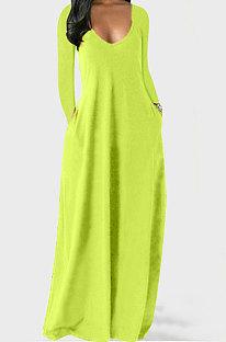 Neon Green Autumn Winter Pure Color Sexy V Neck Long Sleeve Long Dress XQ1137-1