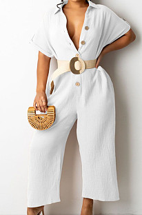 White Casual Solid Color Lapel Collar Single-Breasted Short Sleeve Wide Leg Jumpsuits TRS1169-1