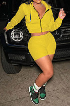 Yellow Women Solid Color Blouse Sport Casual Zipper Shorts Sets XQ1140-2