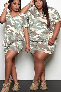 Women Tie Dye Blouse Sport Plus Shorts Sets WDS210415