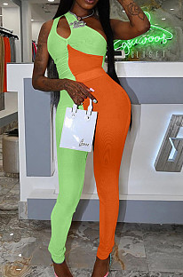 Green Orange Personality Oblique Shoulder Hollow Out Spliced Bodycon Jumpsuits XMY070-4